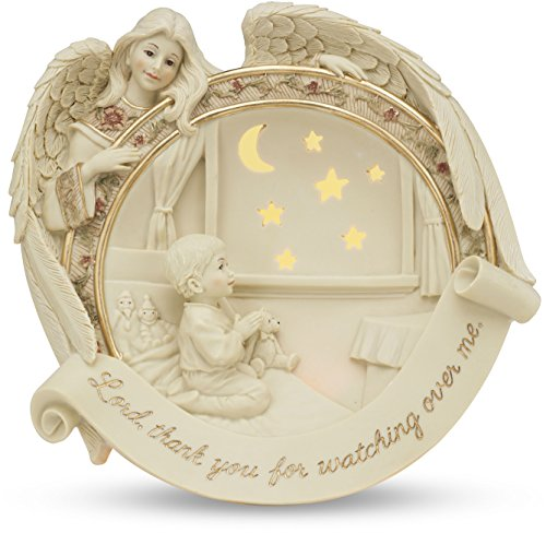 Lords Prayer Plate (Sarah's Angels Tapestry Series Illuminated Angel with Child Praying Plate, Includes Wall Plug, 7-Inch)