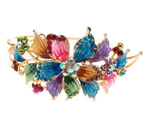 New Fashion multi-color Crystal Rhinestone gold tone metal big Flower design Headband #1212