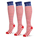 Jasmino Patriotic American Flag Stars & Stripes Socks for Womens Mens 1-3 Pairs (3Pairs USA Knee High Socks)