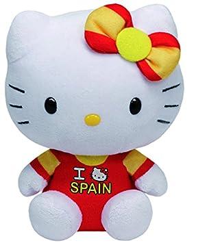 Hello Kitty - Peluche I Love Spain, 15 cm, Color Rojo y Amarillo (