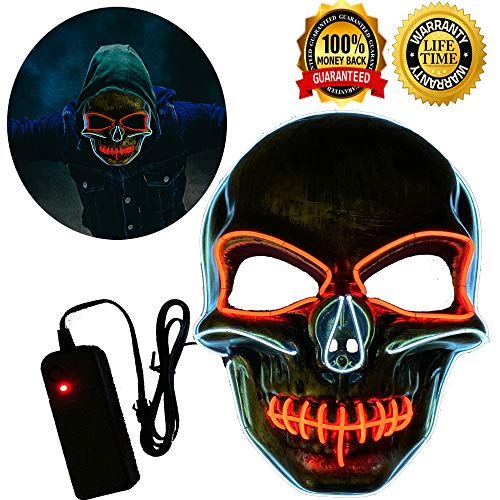 Halloween Mask Neon Mask led mask Scary Mask Light up Mask Cosplay Mask Lights up for Halloween Festival Party (White&Red) -