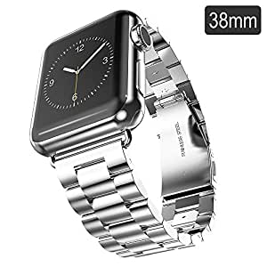 Apple Watch Band, iVAPO 38mm Stainless Steel Metal Replacement Strap Classic Polishing iWatch Wrist Band Link Bracelet with Durable Folding Clasp for Apple Watch (Silver 38mm)