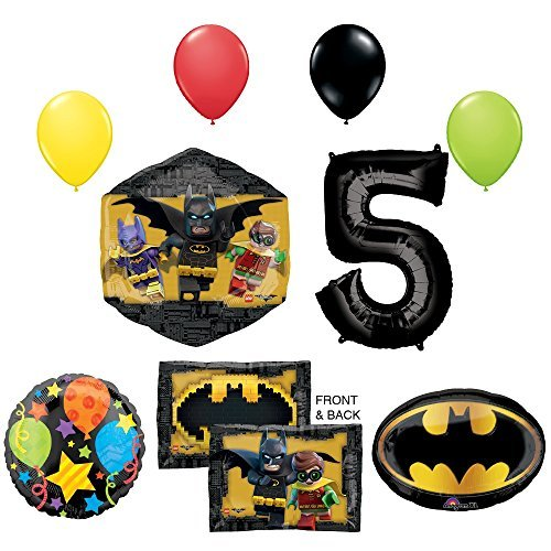 The Lego Batman Movie 5th Birthday Party Supplies and Balloon -