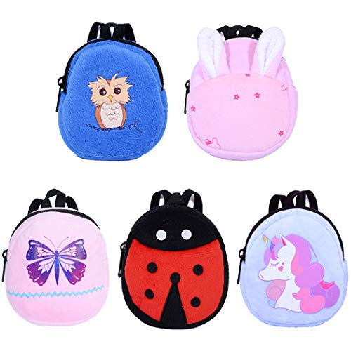 ebuddy 5pcs Cartoon Style Mini School Backpack Doll Bag Accessories for 12-18 inch Dolls (American Girl Doll Backpack)