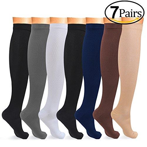 Below Knee Socks (7 Pairs Graduated Compression Socks Women Men Athletic Running Compression Stockings Below Knee High Best for Recovery, Flight, Travel, Nurses, Pregnancy, Maternity, Teachers, 15-20mmHg, S/M, 6 Colors)