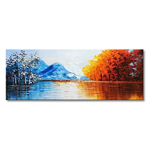 (Hand Painted Landscape Oil Painting on Canvas Textured Lake Scenery Wall Art Modern Artwork )
