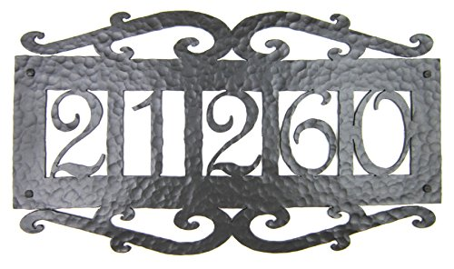 Bushere and Son Spanish Mediterranean Wrought Iron 5 Number Address Plaque APH15 (Bronze)
