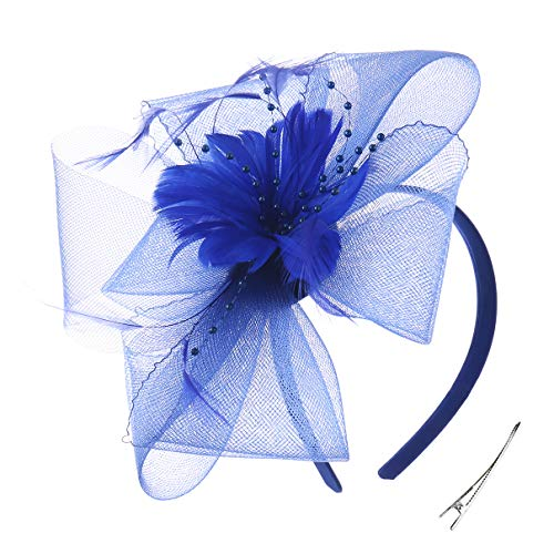 Felizhouse Fascinator Hats Women Ladies Feather Cocktail Party Hats Bridal Headpieces Kentucky Derby Ascot Fascinator Headband (#4 Royal -