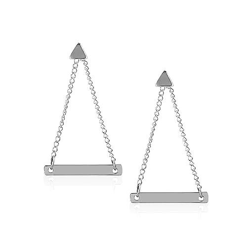 Amazon.com: Cadena de plata de ley 925 Pequeño triángulo ...