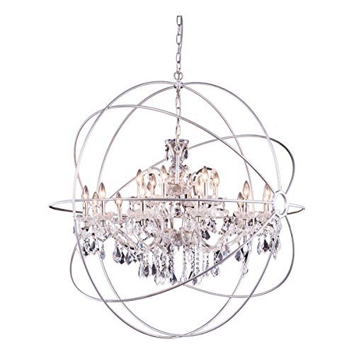 - Elegant Lighting Geneva Collection 18-Light Pendant Lamp with Royal Cut Crystals, Polished Nickel Finish