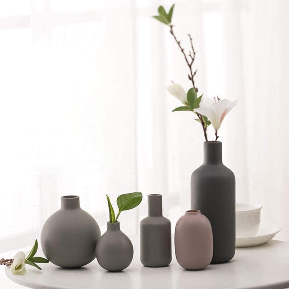 Vase en c/éramique Gris Mini Vase Porcelaine Pot de Fleur d/écoration Sable Sable Artisanat d/écoration Accessoires-Gris 11cm