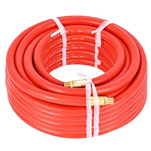 """50Ft 3/8"""" Rubber Air Hose 300 PSI 1/4 Inch NPT Brass End For Air Compressor New"""