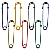 "Wish Dayz Set of 8 Colored large 2.5"" Steel Safety Pins - Blankets, Skirts, Kilts, Crafts (16pcs, 8colors)"