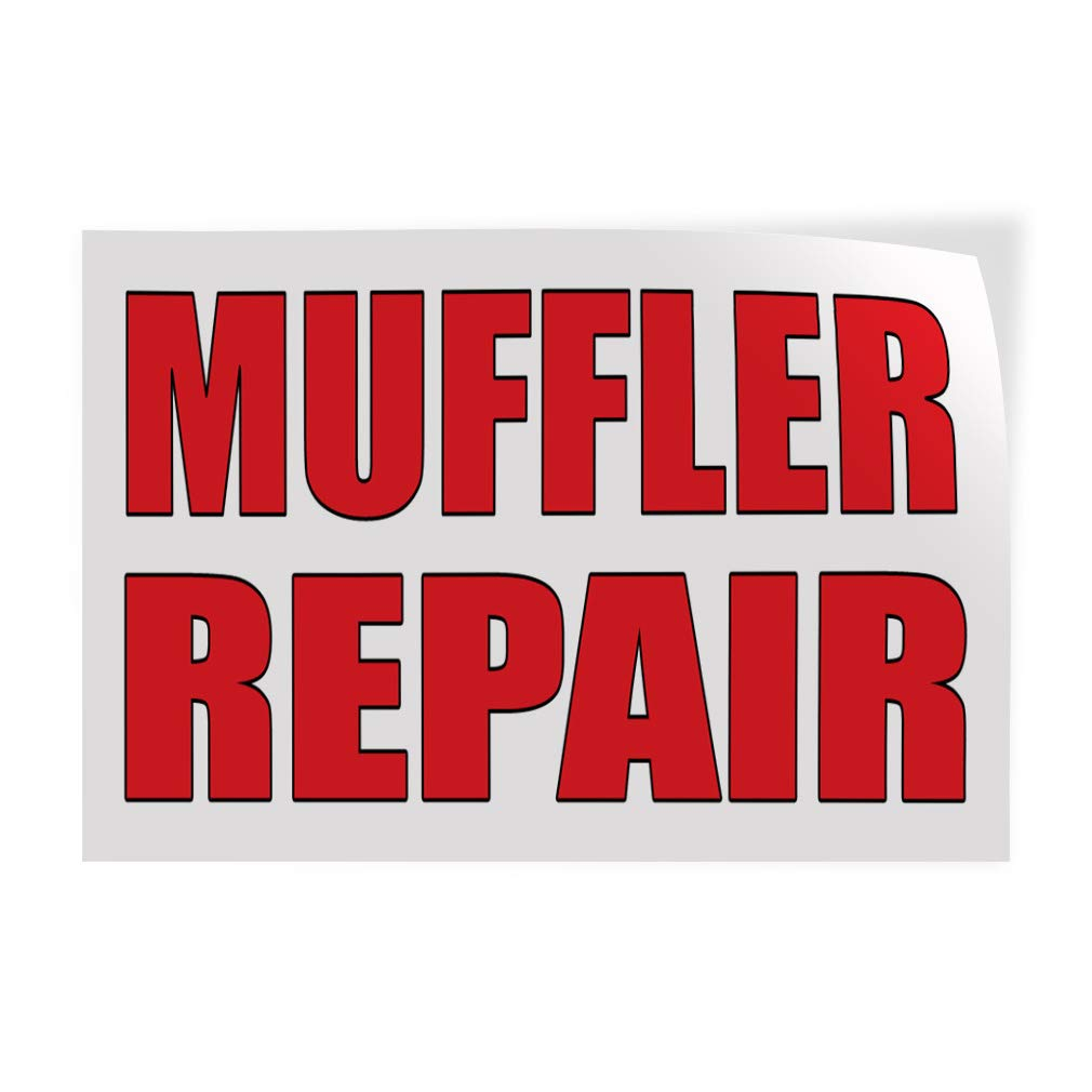 Decal Sticker Multiple Sizes Muffler Repair Auto Body Shop Car Repair Style U Automotive Muffler Outdoor Store Sign White 54inx36in Set of 2