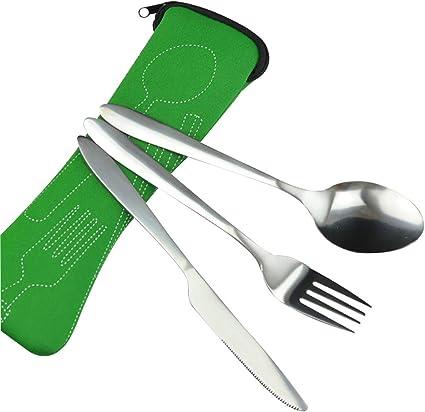 Kentop Juegos de Cubiertos Cuchillos Paquete de 3 vajillas de Acero Inoxidable Ligero vajilla con maletín