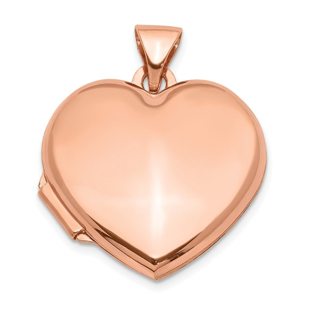 FB Jewels Solid 14K Rose Gold 18mm Domed Heart Locket