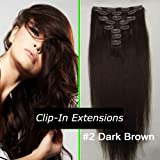 "24"" Clip in Remy Human Hair Extensions 2# Dark Brown 7pcs 100g"