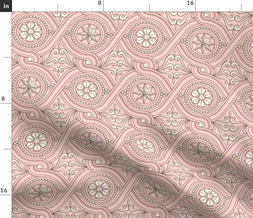(Spoonflower Guilloche Fabric - Guilloche Vintage Scrollwork Pink White Home Decor Guilloche Pink Vintage Scrollwork Old by Muhlenkott Printed on Petal Signature Cotton Fabric by The Yard)