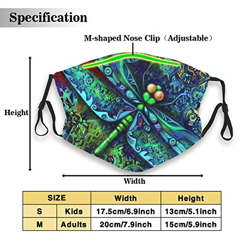 Indian Mandala Dragonfly Insects Animal Unisex Fashion Anti Dust Pollution Outdoor Mouth Mask with Replaceable Carbon Filter Adjustable Ear Loops,Protection Warm Windproof Face Masks