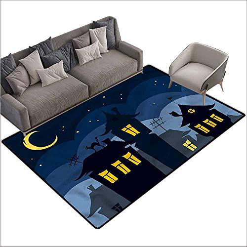 Bedroom Living Room Area Rug Halloween,Cartoon Town with Cat 80