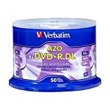 Verbatim DVD+R DL AZO 8.5GB 8x-10x Branded Double Layer Recordable Disc, 50 Disc  97000