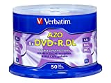 Electronics : Verbatim DVD+R DL AZO 8.5GB 8x-10x Branded Double Layer Recordable Disc, 50 Disc  97000