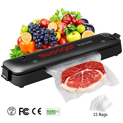 Sweager Vacuum Sealer Machine – Household Automatic Vacuum Air Sealing System for Food Preservation with 15 Vacuum Sealer Bags| Safety Certified | Black