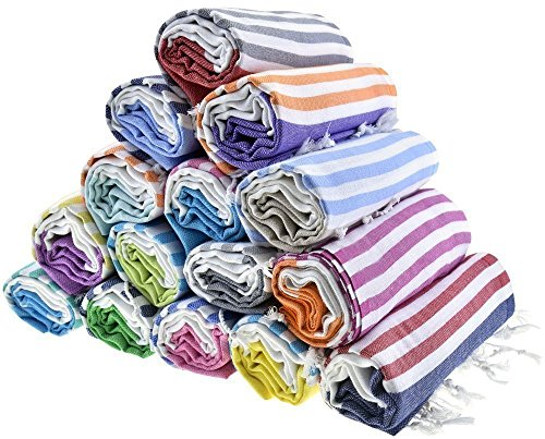 Sale Set of 6 XL Turkish Cotton Bath Beach Spa Sauna Hammam Yoga Gym Hamam Towel Fouta Peshtemal Pestemal Blanket - Set of 6 with Gift Bath Mitt - Striped Wrap Around Wrap