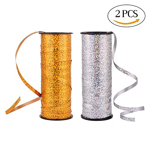 VEYLIN 2 Pieces 200 Yards Curling Ribbon Roll Shiny Balloon Ribbons for Crafts, Florist, Gift Wrapping, Festival and Party decorations (Sliver and (Holographic Curling Ribbon)