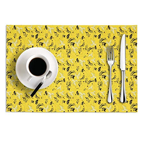 Set Of 2 Dining Hall Banana Nutrition Anti-Fall Placemats Graphic PVC Table Mats