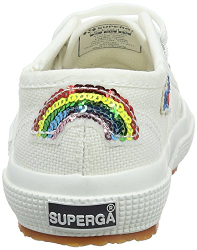 Superga Unisex-Kinder 2750-Cotpatchj Sneaker Multicolore (White Rainbowhearts)