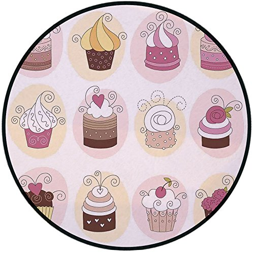 Printing Round Rug,Modern,Cupcakes Bakery Pastry Design Confectioners Decorations Cake Retro Style Decor Decorative Mat Non-Slip Soft Entrance Mat Door Floor Rug Area Rug For Chair Living Room,Pastel