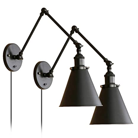 Industrial Black Wall Lights Adjustable Arm With Switch For Bedroom