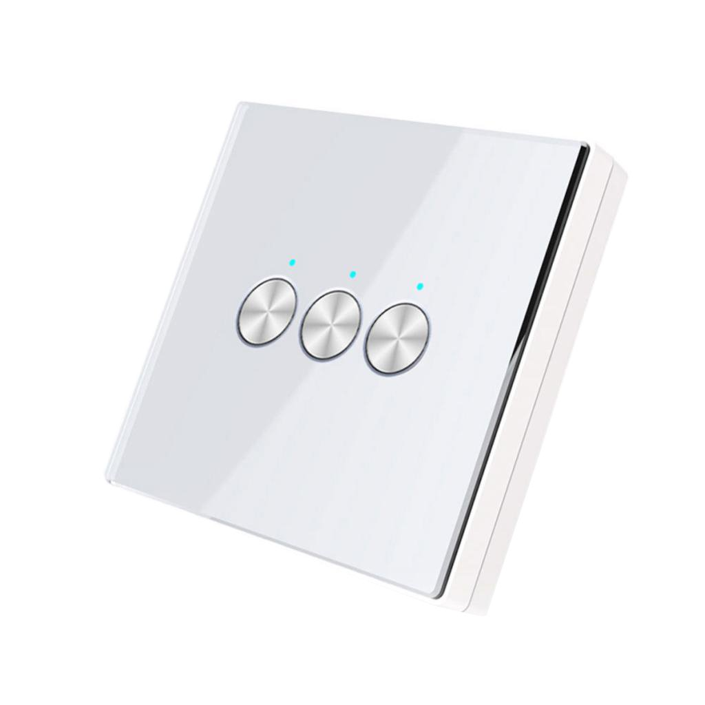 Homyl 433MHz RF Wireless Remote Control Switch 86 Wall Panel Transmitter 3 Button - white