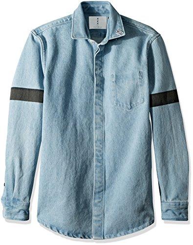 Scotch & Soda Men's Oversized Heavier Weight Clean Denim Shirt With Printed STR, Denim Blue, XXL (Denim Blue Effect)
