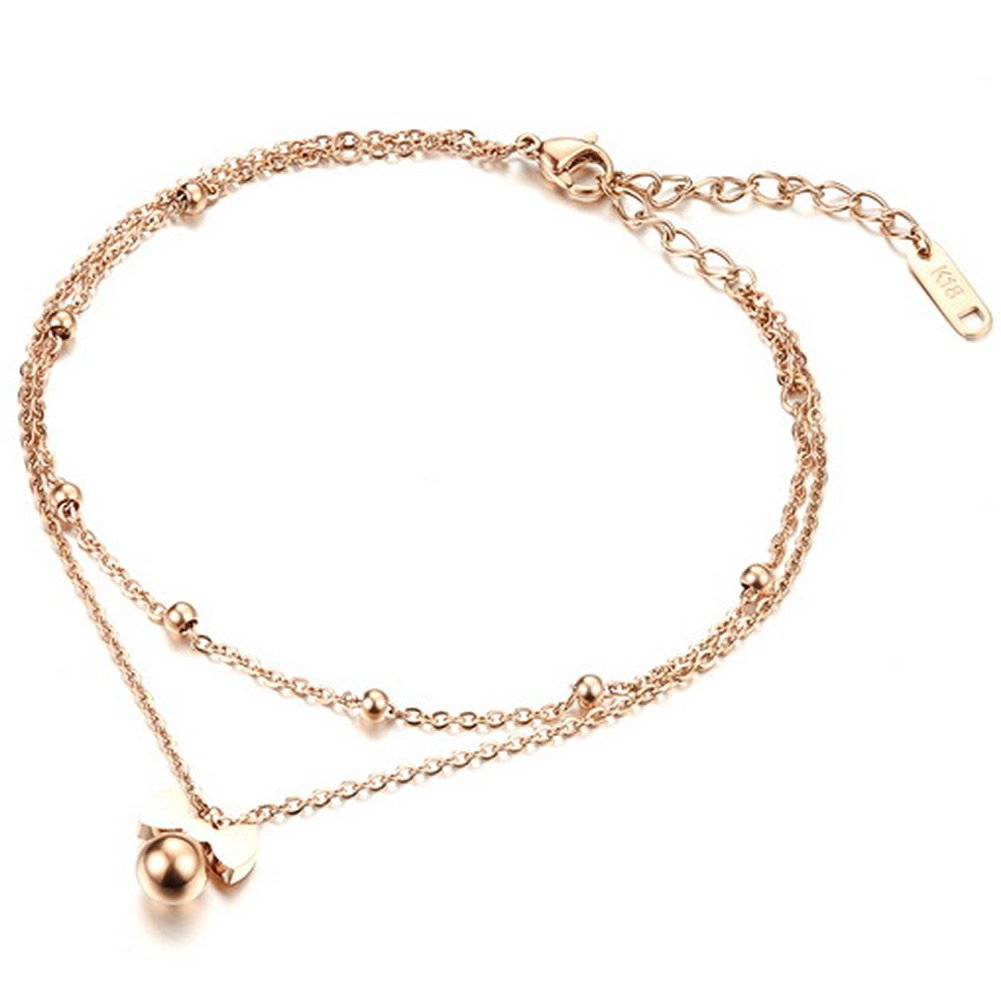 Wonvin Ankle Braclets Girls 18K Rose Gold Plated Double Chain Bowknot Shaped Anklet Foot Jewelry WINSX180523003