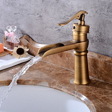 WYFC Centerset Waterfall with Ceramic Valve One Hole for Antique Copper , Bathroom Sink Faucet
