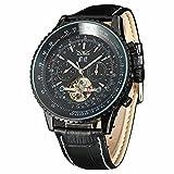 JARAGAR Luxury Big Dial Chronograph Gear Case Tourbillon Auto Black Mechanical Watch Leather Strap Men Wristwatches