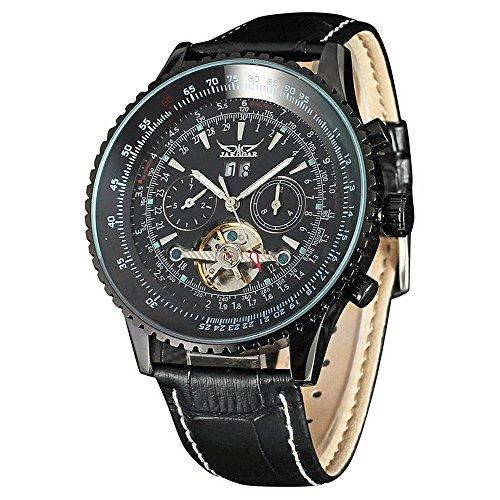 ial Chronograph Gear Case Tourbillon Auto Black Mechanical Watch Leather Strap Men Wristwatches ()