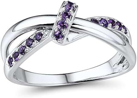 Amethyst Twist Ring in Rhodium Plated Sterling Silver