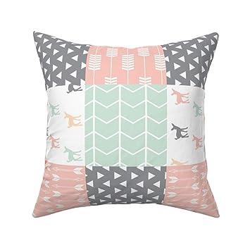 Amazon.com: PMNADOU Pillow,Woodland Patchwork Quilt top Pink ...