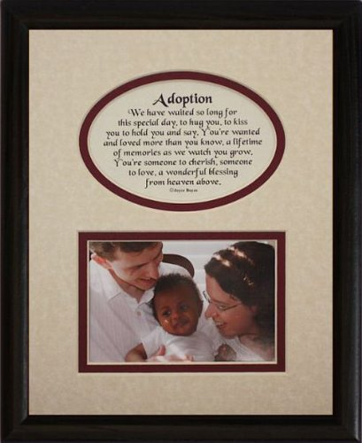 8x10 ADOPTION Picture & Poetry Photo Gift Frame ~ Cream/Burgundy Mat with BLACK Frame ~ Great Adoption Keepsake Gift for Adopting Parents