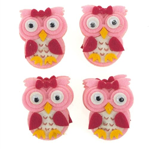 Homeford Firefly Imports Felt Animals Baby Shower Decor, 2-Inch, 12-Pack, Pink Owl ()