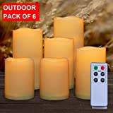 AMAGIC Set Of 6 Waterproof Outdoor Flameless Candles With Remote &Timer, Battery Operated Flickering Led Candles, Realistic Fake Candles (Resin Plastic, Water Resistant)
