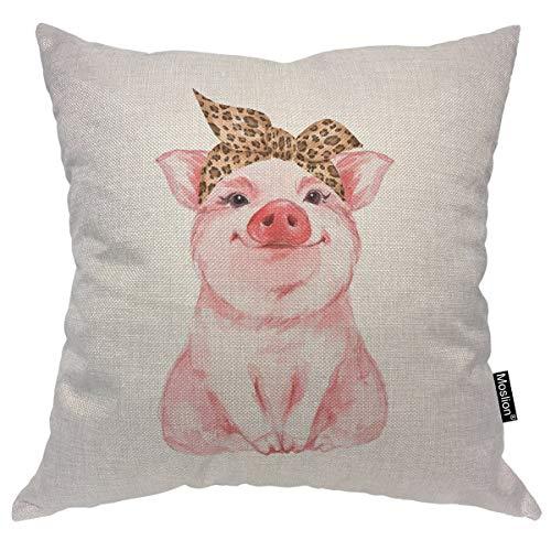 (Moslion Pig Decorative Throw Pillow Cover Farm Animal Funny Cute Piggy Wearing Leopard Bandana Pillow Case Cotton Linen for Home Sofa Cushion 24x24 Inch)