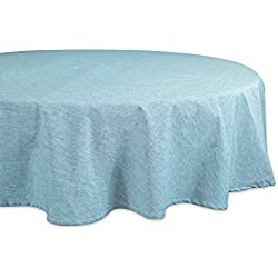 "DII Cotton Chambray Pastel Tablecloth for Spring & Summer with a Denim Woven Look, Use for Family Meals or Gatherings, Weddings, Brunch, Catering Events, or Parties (70"" Round, Seats 4-6 People), Aqua"