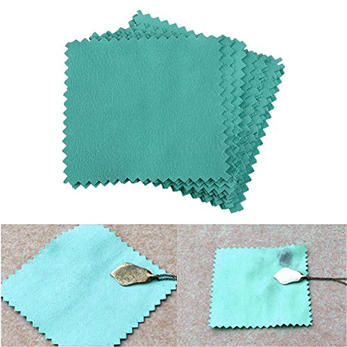 - Kicode 10Pcs Jewelry Polishing Cleaning Cloth Blue Useful Durable for Sterling Silver Gold Platinum