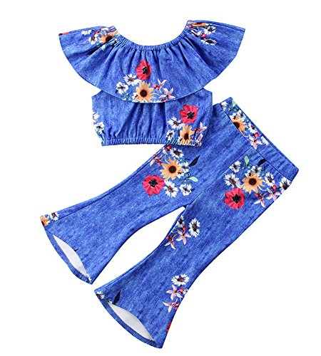 Calsunbaby Infant Baby Girl Off Shoulder Floral Print Lotus Leaf Top Bellbottoms Pant Outfit Set (Blue, 4-5 Years) - Leaf Print Pant Set