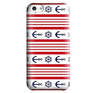 Iphone 5c Case,JIANSE Stylish Full Protective Slin Fit Durable Impact Resistant Flexible Red Stripes Anchor Nautical Sea Life Pattern Hard Back Cover Case Bumper for Iphone 5C