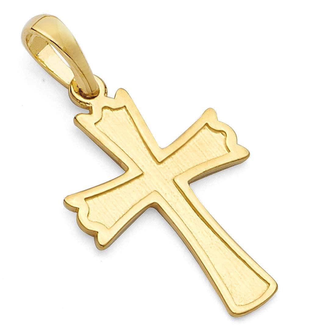 Wellingsale 14k Yellow Gold Cross Religious Pendant Size : 24 x 12 mm